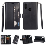 For Xiaomi Redmi 7 / Redmi Go Multifunctional Zipper Horizontal Flip Leather Case with Holder & Wallet & 9 Card Slots & Lanyard(Black)