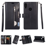 For Xiaomi Redmi Note 7 / Note 7 Pro / Note 7S Multifunctional Zipper Horizontal Flip Leather Case with Holder & Wallet & 9 Card Slots & Lanyard(Black)