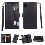 For Xiaomi Redmi 7A Multifunctional Zipper Horizontal Flip Leather Case with Holder & Wallet & 9 Card Slots & Lanyard(Black)