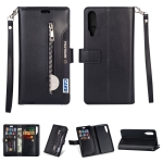 For Xiaomi Mi 9 / Mi 9 Explorer Multifunctional Zipper Horizontal Flip Leather Case with Holder & Wallet & 9 Card Slots & Lanyard(Black)