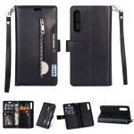 For Xiaomi Mi 9 SE Multifunctional Zipper Horizontal Flip Leather Case with Holder & Wallet & 9 Card Slots & Lanyard(Black)