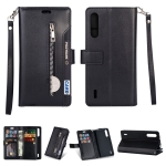 For Xiaomi Mi CC9 / Mi A3 Lite / Mi 9 Lite Multifunctional Zipper Horizontal Flip Leather Case with Holder & Wallet & 9 Card Slots & Lanyard(Black)