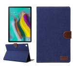 For Samsung Galaxy Tab A7  T505 Denim Texture PC Horizontal Flip Leather Protective Case with Holder & Card Slots & Wallet & Photo Frame & Sleep / Wake-up Function(Dark Blue)