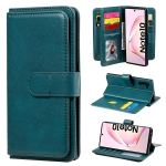 For Samsung Galaxy Note10 Multifunctional Magnetic Copper Buckle Horizontal Flip Solid Color Leather Case with 10 Card Slots & Wallet & Holder & Photo Frame(Dark Green)