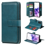 For Samsung Galaxy S20+ 5G Multifunctional Magnetic Copper Buckle Horizontal Flip Solid Color Leather Case with 10 Card Slots & Wallet & Holder & Photo Frame(Dark Green)