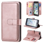 For iPhone 8 Plus & 7 Plus Multifunctional Magnetic Copper Buckle Horizontal Flip Solid Color Leather Case with 10 Card Slots & Wallet & Holder & Photo Frame(Rose Gold)