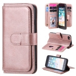 For iPhone 8 & 7 Multifunctional Magnetic Copper Buckle Horizontal Flip Solid Color Leather Case with 10 Card Slots & Wallet & Holder & Photo Frame(Rose Gold)