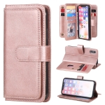 For iPhone XS / X Multifunctional Magnetic Copper Buckle Horizontal Flip Solid Color Leather Case with 10 Card Slots & Wallet & Holder & Photo Frame(Rose Gold)
