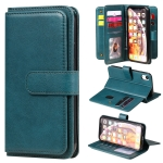 For iPhone XR Multifunctional Magnetic Copper Buckle Horizontal Flip Solid Color Leather Case with 10 Card Slots & Wallet & Holder & Photo Frame(Dark Green)