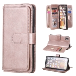For iPhone XS Max Multifunctional Magnetic Copper Buckle Horizontal Flip Solid Color Leather Case with 10 Card Slots & Wallet & Holder & Photo Frame(Rose Gold)