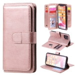 For iPhone 11 Pro Multifunctional Magnetic Copper Buckle Horizontal Flip Solid Color Leather Case with 10 Card Slots & Wallet & Holder & Photo Frame(Rose Gold)
