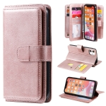 For iPhone 11 Multifunctional Magnetic Copper Buckle Horizontal Flip Solid Color Leather Case with 10 Card Slots & Wallet & Holder & Photo Frame(Rose Gold)