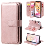 For iPhone 11 Pro Max Multifunctional Magnetic Copper Buckle Horizontal Flip Solid Color Leather Case with 10 Card Slots & Wallet & Holder & Photo Frame(Rose Gold)
