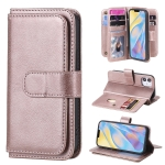For iPhone 12 Multifunctional Magnetic Copper Buckle Horizontal Flip Solid Color Leather Case with 10 Card Slots & Wallet & Holder & Photo Frame(Rose Gold)