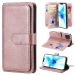 For iPhone 12 Max / 12 Pro Multifunctional Magnetic Copper Buckle Horizontal Flip Solid Color Leather Case with 10 Card Slots & Wallet & Holder & Photo Frame(Rose Gold)