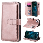 For iPhone 12 Pro Max Multifunctional Magnetic Copper Buckle Horizontal Flip Solid Color Leather Case with 10 Card Slots & Wallet & Holder & Photo Frame(Rose Gold)