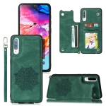 For Samsung Galaxy A70 Mandala Embossed PU + TPU Case with Holder & Card Slots & Photo Frame & Strap(Green)