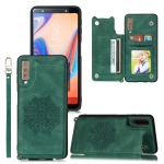 For Samsung Galaxy A7 (2018)/ A750 Mandala Embossed PU + TPU Case with Holder & Card Slots & Photo Frame & Strap(Green)