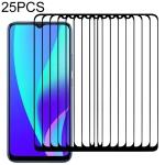 For OPPO Realme C15 25 PCS Full Glue Full Screen Tempered Glass Film