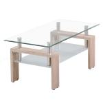 [JPN Warehouse] Rectangle Glass Table Low Table with Storage Function, Size: 88 x 48 x (42-43)cm (Transparent + Wood Color)