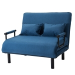 [JPN Warehouse] Double Reclining Chair Fabric Sofa Bed Foldable Bed with Armrests, Size: 100 x 86 x 68cm(Blue)