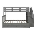 [US Warehouse] LP000219AAE Stair Bunk Bed with Drawers & Storage & Guardrails, Size: 91.73×51.57×61.4 inch(Grey)