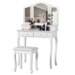 [EU Warehouse] WF193786WAA White Cosmetic Dressing Table with Stool & 3 Folding Mirrors & 4 Drawers, Size: 80x40x134.5cm