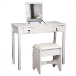 [UK Warehouse] Flip Single Mirror Double Drawers Straight Feet Dresser, Size: 90 x 40 x (75-112)cm(White)