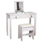 [US Warehouse] Flip Single Mirror Double Drawers Straight Feet Dresser, Size: 90 x 40 x (75-112)cm(White)