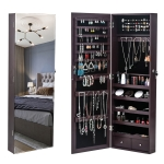 [US Warehouse] Full Mirror Wooden Wall Hanging 5-Layer Shelf 2 Drawer Jewelry Storage Mirror Cabinet, Size: 108 x 10 x 37cm(Brown)