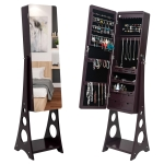 [US Warehouse] Full Mirror Wooden Floor Standing 3-Layer Shelf 4 Drawers Jewelry Storage Adjustable Arc Mirror Cabinet with LED Lights, Size: 37.08 x 12.70 x 107.95cm(Brown)