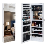 [US Warehouse] Full Mirror Wooden Wall Mounted 4-Layer Shelf 2 Drawers Jewelry Storage Mirror Cabinet with LED Lights, Size: 37 x 9.5 x 108cm(White)