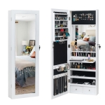 [US Warehouse] Non Full Mirror Wooden Wall Hanging 3-Layer Shelf 2 Drawers Jewelry Storage Mirror Cabinet with Cosmetic Brush Holders & LED Lights, Size: 36.5 x 9.5 x 108cm(White)
