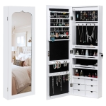 [US Warehouse] Non Full Mirror Wooden Wall Mounted 4-Layer Shelf 6 Drawers Jewelry Storage Mirror Cabinet with LED Lights, Size: 36.5 x 12.3 x 108cm(White)