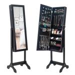 [US Warehouse] Non Full Mirror Wooden Floor Standing 4-Layer Shelf Jewelry Storage Adjustable Mirror Cabinet, Size: 47 x 40 x 156cm(Black)