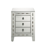 [US Warehouse] Mirror Bedside Table with Drawer & Mother-of-pearl Inlay, Size: 18x14x26 inch