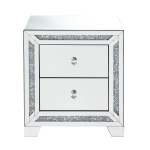 [US Warehouse] Mirror Bedside Table with Drawers & Rhinestone Inlay, Size: 22x14x24 inch