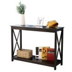 [UK Warehouse] Console Table Side End Table Shelf Storage Wooden Hall Desk for Living Room Bedroom Hallway Home (Brown)