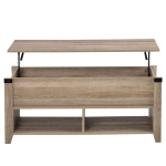 [US Warehouse] Multipurpose Coffee Table Open Shelf Storage Lifting Table with Drawers, Size: 110x46x47cm(Oak)