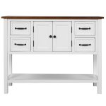 [US Warehouse] Living Room Modern Console Table Sofa Table with 4 Drawers & 1 Cabinet & 1 Shelf(White Brown)