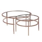 [US Warehouse] Mid-century Modern Elegant Glass Nesting Round Coffee Table Set