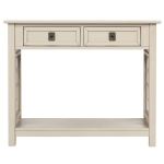 [US Warehouse] Entryway Accent Sofa Table Storage and Displaying Decor Console Table with 2 Drawers and Bottom Shelf, Size: 91 x 36 x 76cm(Antique Gray)