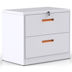 [US Warehouse] Metal Lateral File Cabinet with Lock & 2-Drawers, Size: 90 x 45 x 72cm(White+Orange)