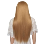 Female Mid-length Straight Hair Golden Rose Mesh Synthetic Wig