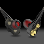 D2 1.2m Wired In Ear 3.5mm Interface Stereo Wire-Controlled HIFI Earphones Dual-motion Loop Running Game Music Headset With Packaging (Black)