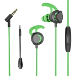 G1 1.2m Wired In Ear 3.5mm Interface Stereo Earphones Video Game Mobile Game Headset With Mic, Deluxe Version Packaging (Green)