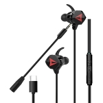 G5 Wired In Ear Type-C Interface Stereo Wire-Controlled HIFI Earphones Video Game Mobile Game Headset With Mic (Black)