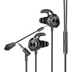 G16 1.2m Wired In Ear 3.5mm Interface Stereo Wire-Controlled + Detachable HIFI Earphones Video Game Mobile Game Headset With Mic (Black)