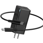Baseus GaN2 45W Dual Type-C / USB-C Fast Charging Travel Charger Power Adapter with 1m Charging Cable, US Plug(Black)