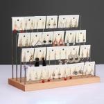 Solid Wood Earrings Storage Rack Display Stand, Style: 4 Layers (Black)